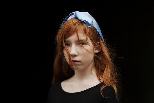 Girl with blue ribbon II
